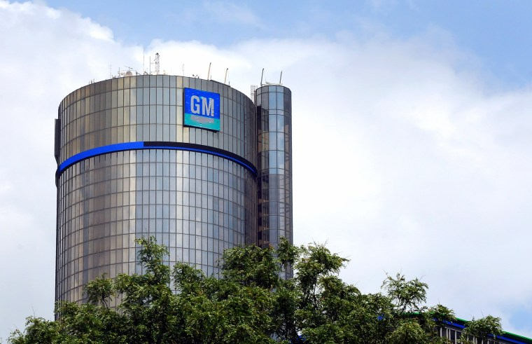 The General Motors world headquarters office is seen at