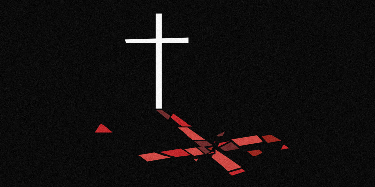 Image: A white cross against a black background has a shattered red shadow