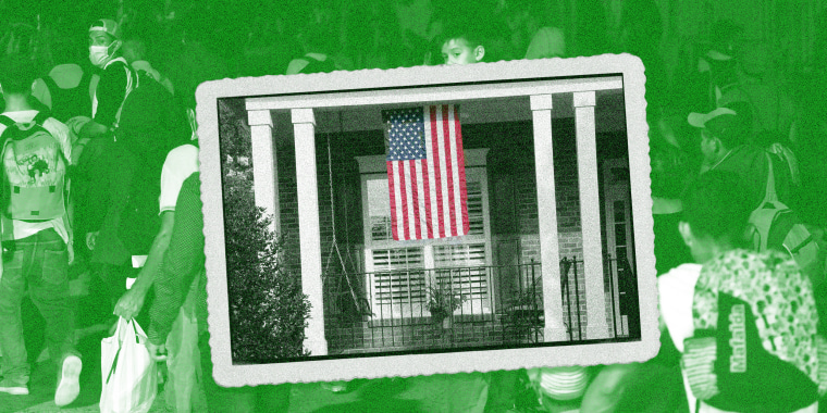 Image: A framed photograph of a home with an American flag is juxtaposed over an image of migrants walking that has a green overlay.