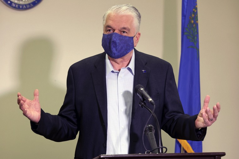 Nevada Gov. Steve Sisolak talks about the state's Covid-19 response during a news conference in Las Vegas on Oct. 2, 2020.