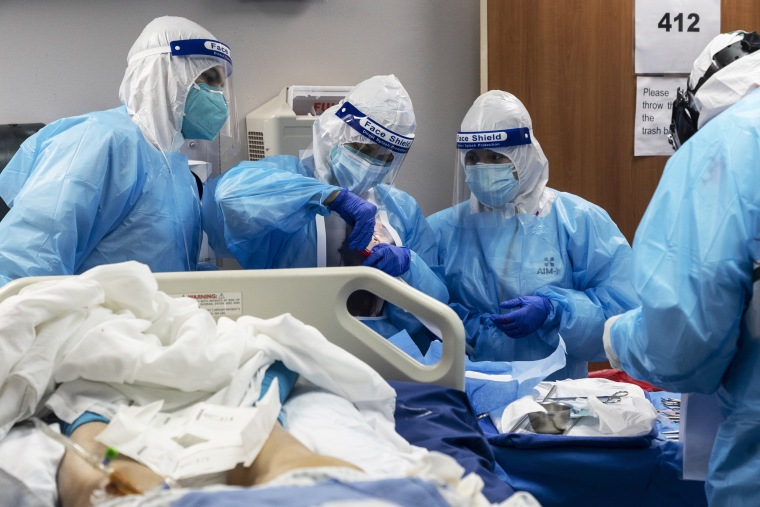Image: COVID-19 Intensive Care Unit Within A Houston Hospital Cares For Patients As Cases Continue To Rise