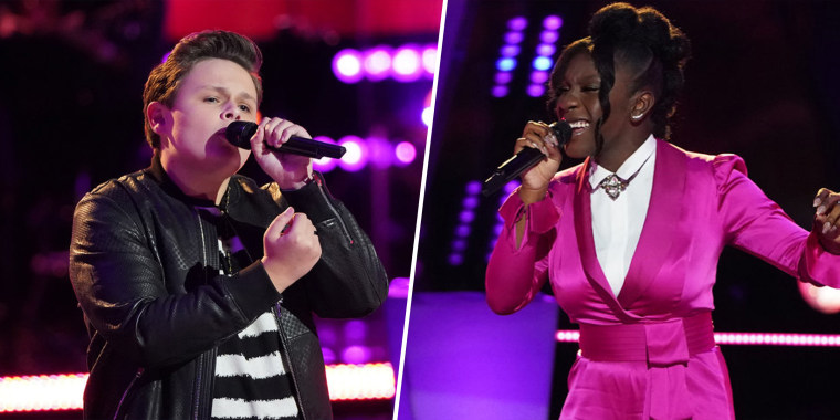 """""""The Voice"""" contestants Carter Rubin, 14, and Larriah Jackson, 15, battle it out on Monday's episode."""