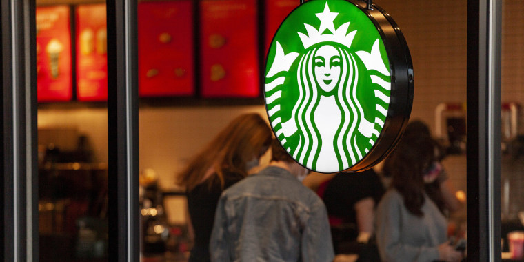 Starbucks coffee shop logo seen at one of their stores