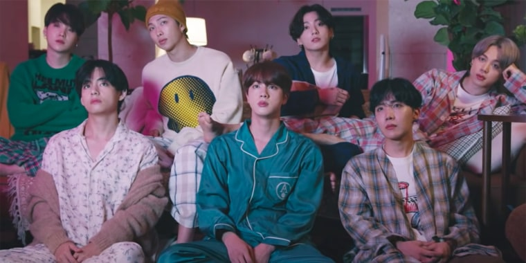 """K-pop band BTS, made up of members RM, V, Jungkook, Jimin, Suga, Jin and J-Hope, are back with a new album and a music video for their pandemic-era track """"Life Goes On."""""""