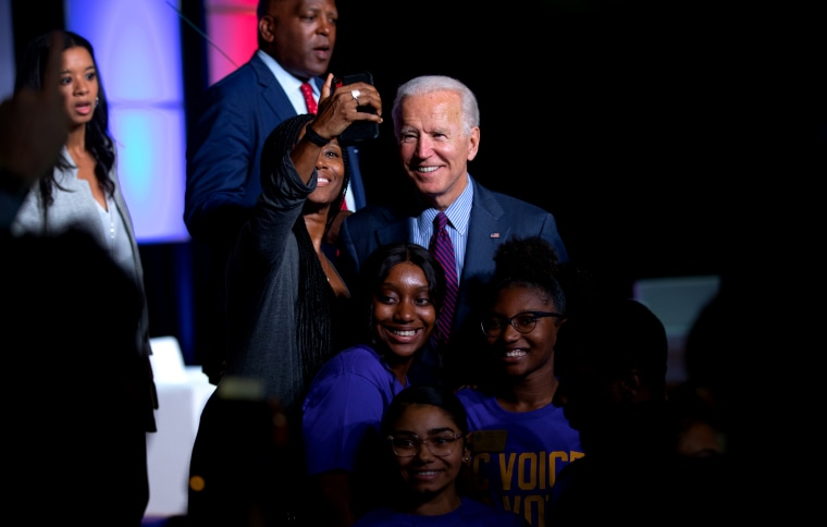 Image: Former Vice President Joe Biden takes a selfie with a supporter at Benedict College in Columbia, S.C., on Oct. 26, 2019.
