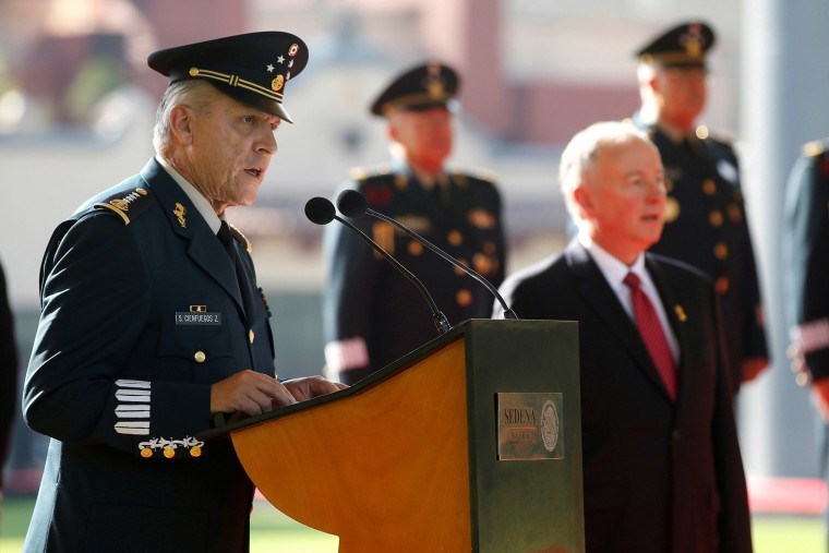 Image: General Salvador Cienfuegos Zepeda speaks during an official reception in Mexico City.