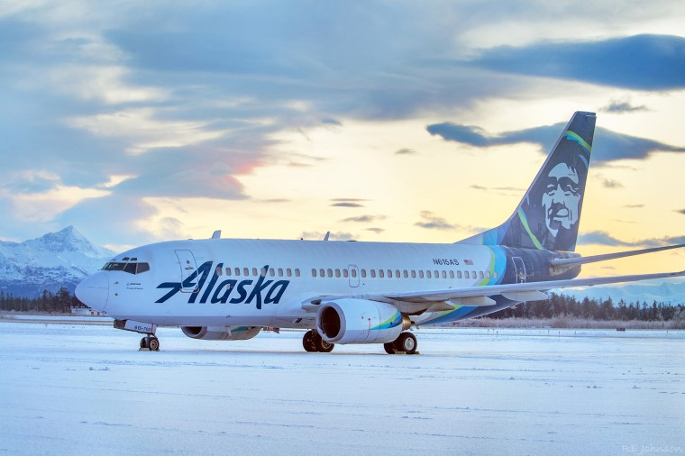 Image: An Alaska Airlines jet that struck a brown bear while landing in the early evening the day before, killing the animal and causing damage to the plane, at Yakutat Airport in Yakutat, Alaska.