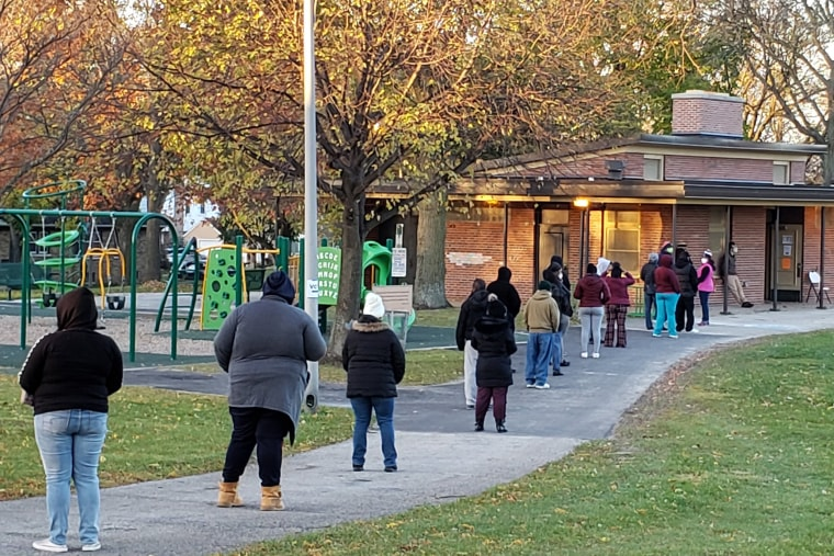 Image: Voters wait in line outside a pavilion at Center Street Park shortly before the polling site opened on Election Day,