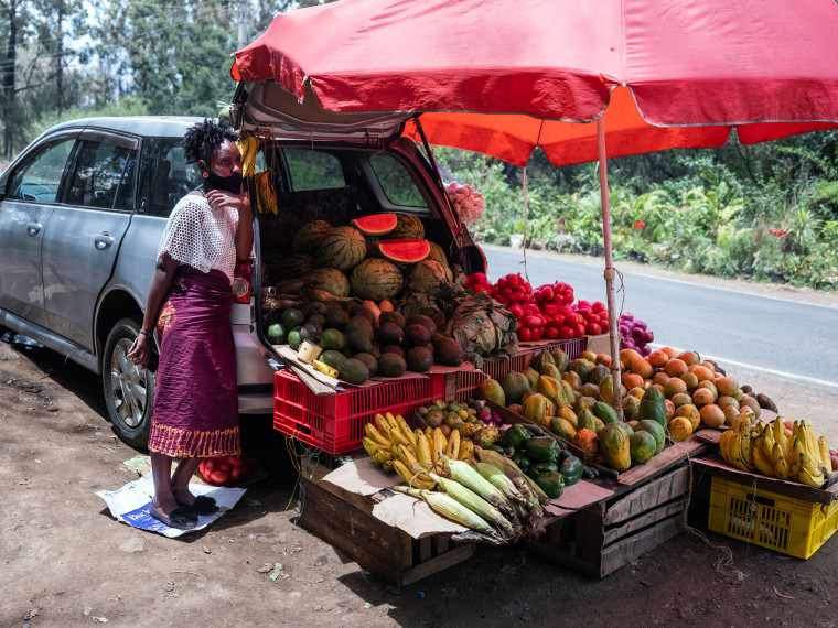 Image: Vegetables sold from a car in Kenya