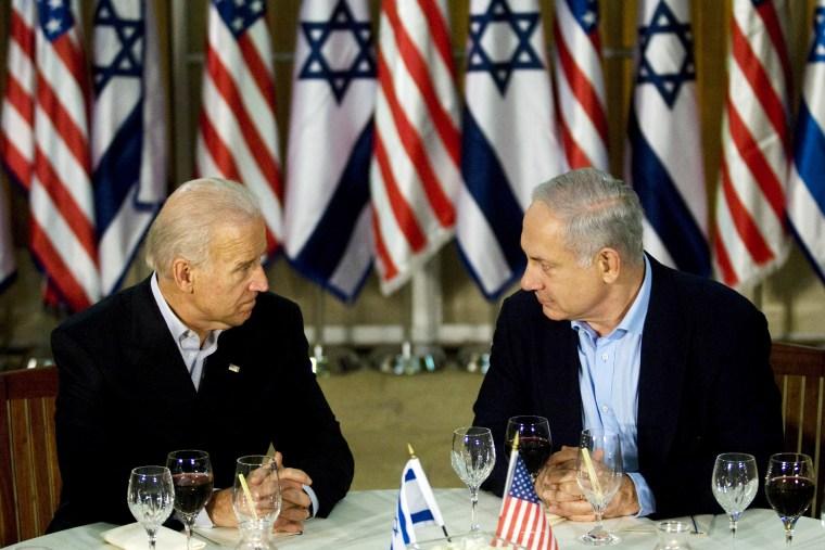 US Vice President Joe Biden (L) and Isra