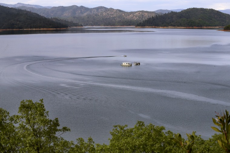 Watercraft on Shasta Lake on Wed. April. 4, 2018  in Shasta Lake, Calif. The Trump administration and Republicans want to raise the height of the Shasta Dam.