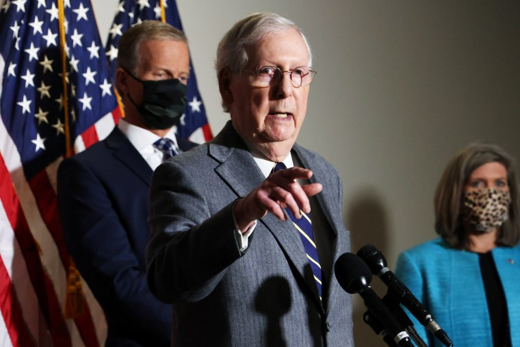 Image: U.S. Senate Majority Leader McConnell holds a news conference on Capitol Hill in Washington