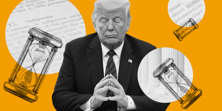 Image: Trump is sitting with his eyes closed and hands together surrounded by three hourglasses white circles with images of a document, steps of the Supreme Court and a transcript.