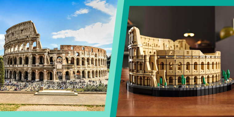 The Colosseum in Rome, left, The Colosseum in Lego, right.