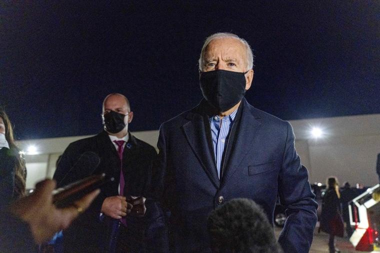 Image: Joe Biden speaks to members of the media before boarding his campaign plane at Detroit Metropolitan Wayne County Airport in Detroit.