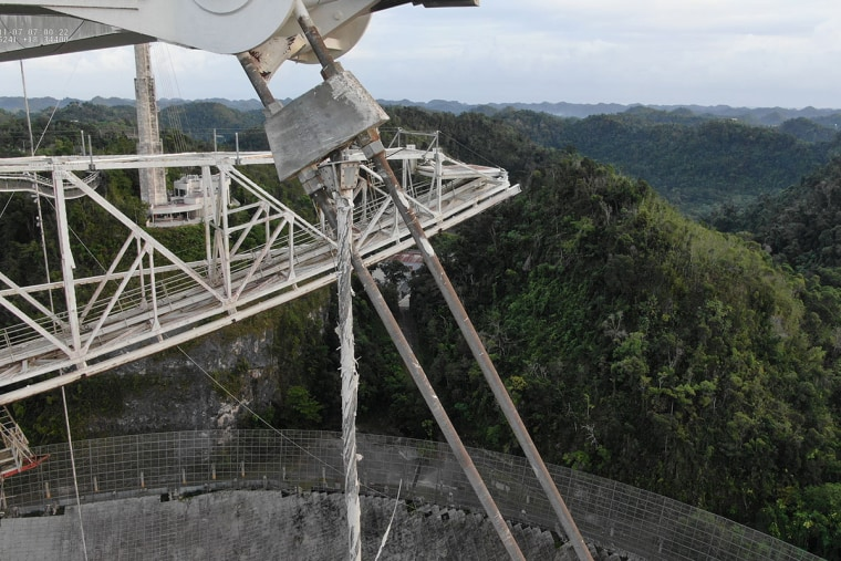 A drone view of damage to a cable at the Arecibo Observatory in Puerto Rico captured after a second cable failed on Nov. 6, 2020.