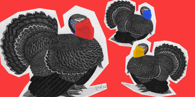 Image: Three cutouts of turkey illustrations with red, yellow and blue surgical masks on.