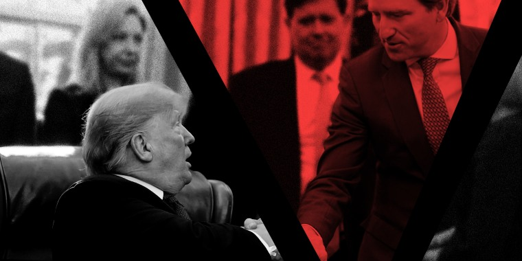Image: An image of Trump shaking hands with Chris Krebs is sliced through the hands. The slice with Chris Krebs has a red overlay.