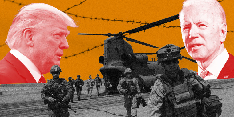 Image: Soldiers walk off the runway from a helicopter. Trump and Biden's profile loom are set against a deep yellow sky in the background