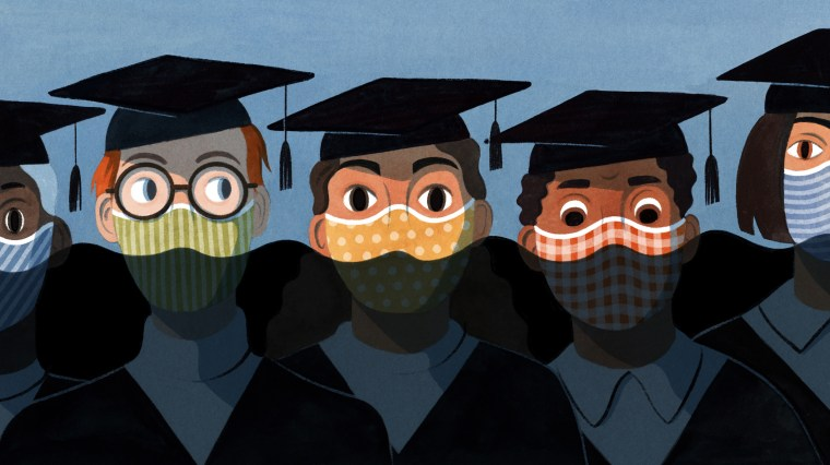 Illustration of students in caps and gowns as oil overwhelms the frame.