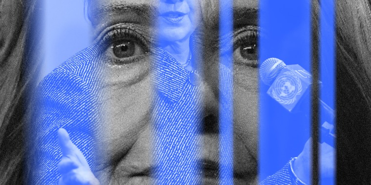 Image: A black and white close up of Hillary Clinton is juxtaposed with blurry blue lines that contain an image of her speaking at the UN.