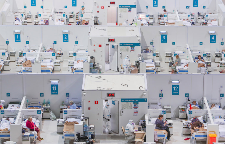 Image: Temporary hospital for COVID-19 patients in the Krylatskoye Ice Palace in Moscow