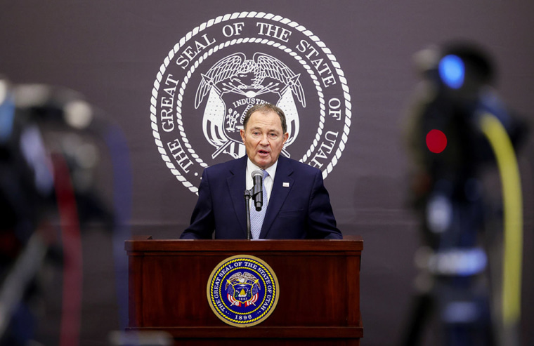 Image: Utah Gov. Gary Herbert speaks at a press conference at the Capitol in Salt Lake City, clarifying the state's mask mandate