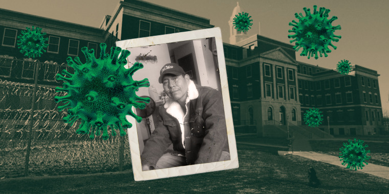 Image: Medical center for Federal Prisoners with a green overlay and floating coronavirus forms and a photograph of Waylon Young Bird juxtaposed over it.