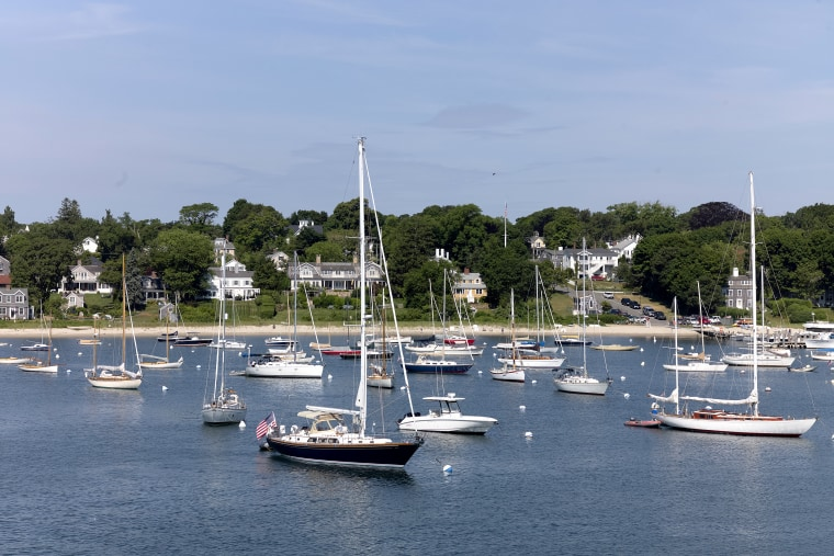 Sailboats and motorboats are anchored in Vineyard Haven harbor on June 28, 2020 in Tisbury, Mass. on the island of Martha's Vineyard.