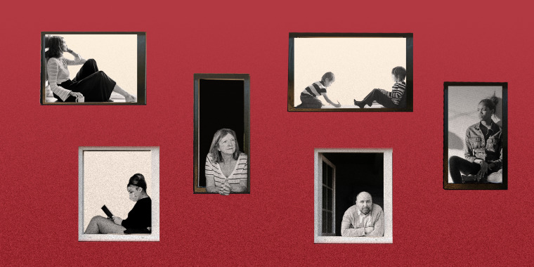 Image: People inside different windows against a red wall