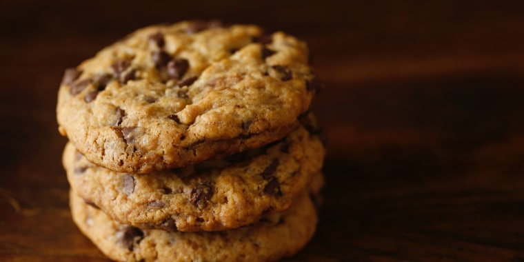 Close-Up Of Cookies On Wooden Table