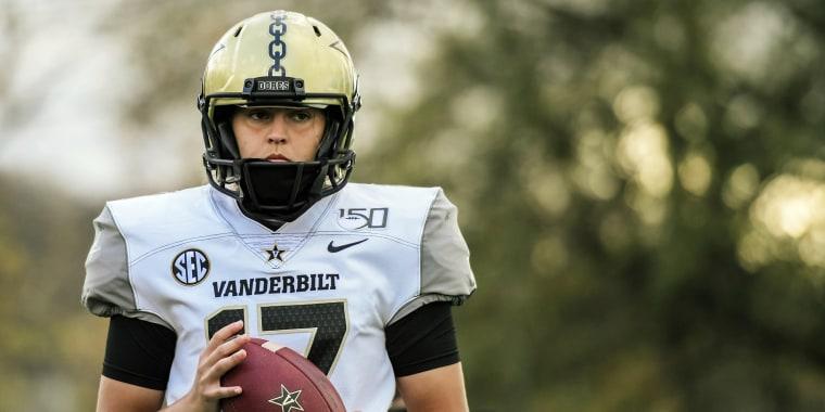 Vanderbilt kicker Sarah Fuller looks on during NCAA college football practice, Nov. 25, 2020, in Nashville, Tenn.