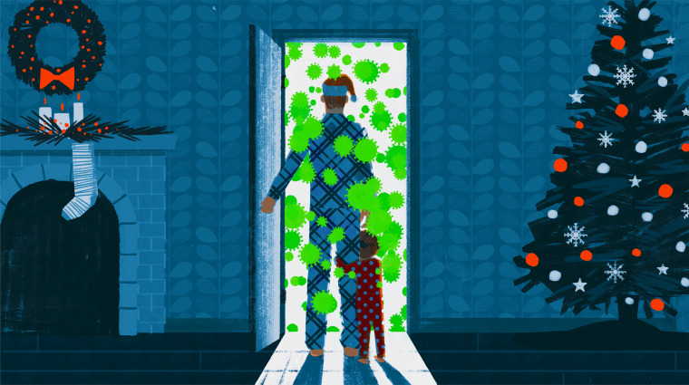 Illustration of man inside a home with holiday directions looking out his front door with coronavirus spores snowing down.