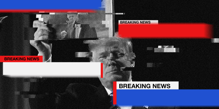 """Image: Blue, red and white Strips move across the screen that read,""""Breaking News"""", over a glitching black white image of Donald Trump holding up a newspaper with his photo."""