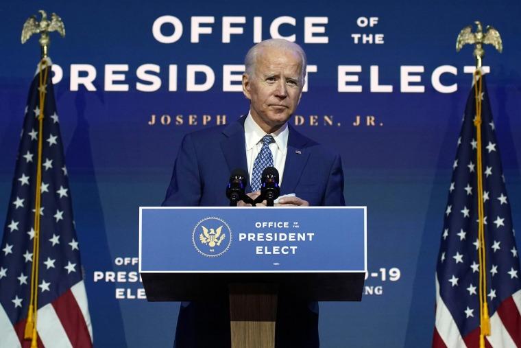 Image: President-elect Joe Biden speaks Monday, Nov. 9, 2020, at The Queen theater in Wilmington, Del.