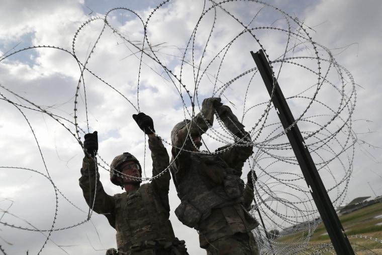 Image: Troops Arrive At U.S. Mexico Border Spots Where Migrant Caravan May Arrive In Coming Weeks