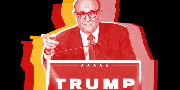 Image: Image: Cut out of Rudi Giuliani speaking over a podium with a Trump sign, left hand pointing at the audience with red, yellow and pink colored shadows.