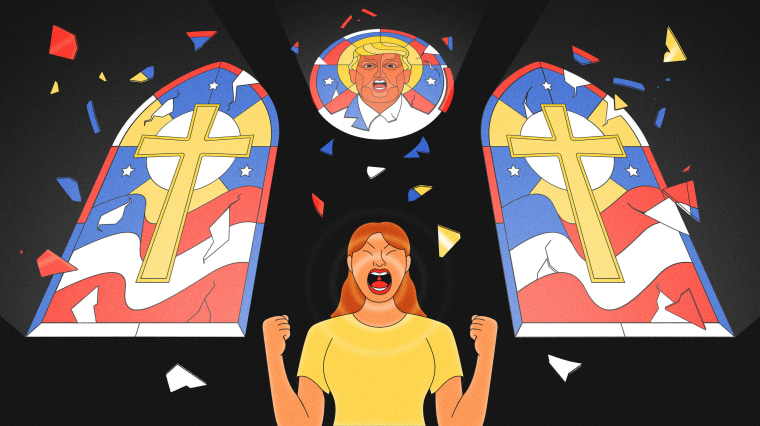 Illustration of woman in running clothes standing in front of stained glass on a church screaming. One of the windows is designed with Trump's face.