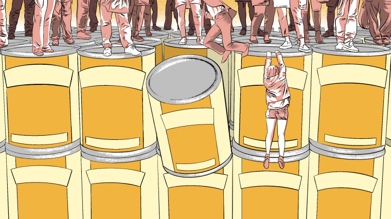 Illustration of woman falling off a cliff of cans.