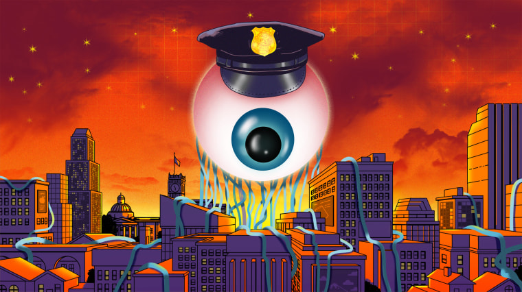 Image: An eyeball wearing a police hat watches Jackson, Miss., from the sky.