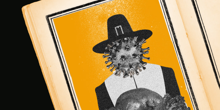 Image: An old open book has an image of the coronavirus in a pilgrim hat