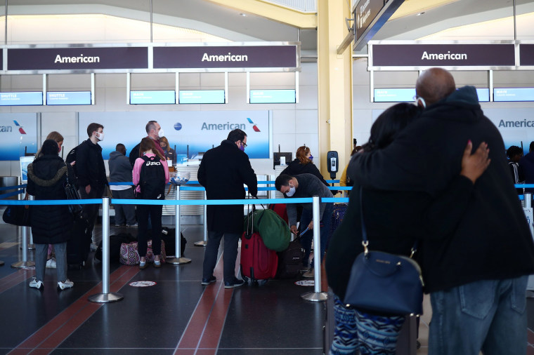 Image: People queue at Reagan National Airport ahead of the Thanksgiving holiday in Arlington