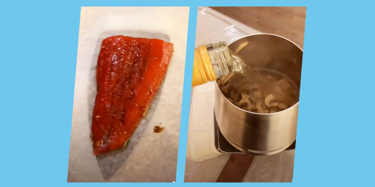 In one of his viral videos, Jago Randles uses the hotel room's clothes iron to sear a piece of salmon.