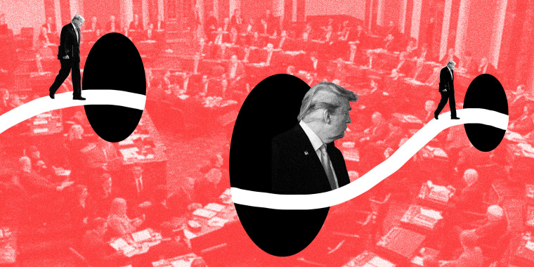 Image: A white path goes through three black holes over an image of the Senate with a red overlay. Multiple image of trump walking along the path.