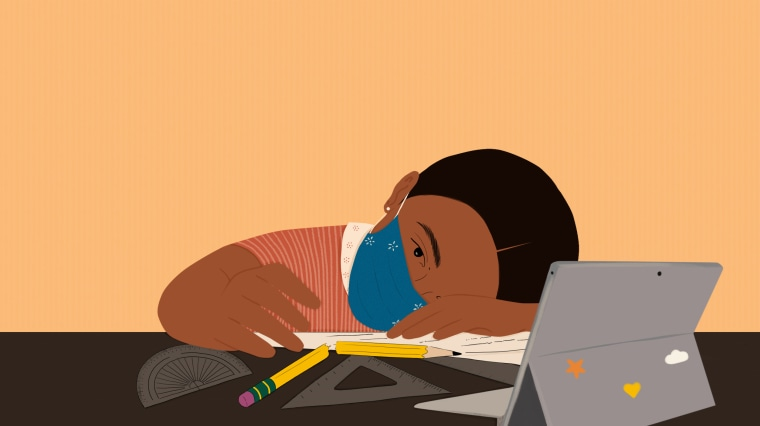 Image: A child wearing a mask lays her head on her desk with a broken pencil and an iPad.