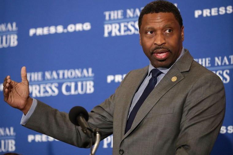 Image: NAACP President Derrick Johnson addresses the Newsmaker Luncheon at the National Press Club in Washington.