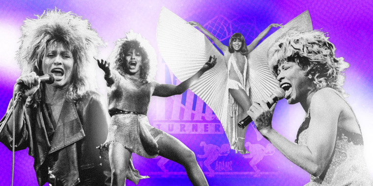 Image: Tina Turner in various costumes and outfits on a purple background with a tour poster.