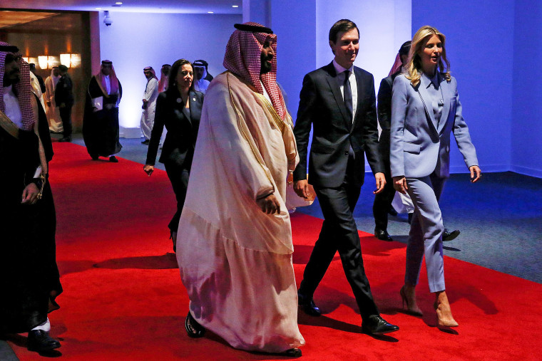 Image: FILE PHOTO: Saudi Arabia's Deputy Crown Prince Mohammed bin Salman escorts White House senior advisors Jared Kushner and Ivanka Trump at the Global Center for Combatting Extremist Ideology in Riyadh, Saudi Arabia