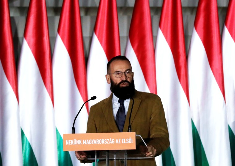 Image: Szajer, senior member of Fidesz party delivers his speech in Budapest