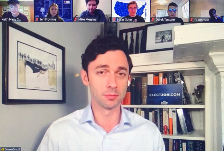 Image: Jon Ossoff appears at a Zoom phone bank